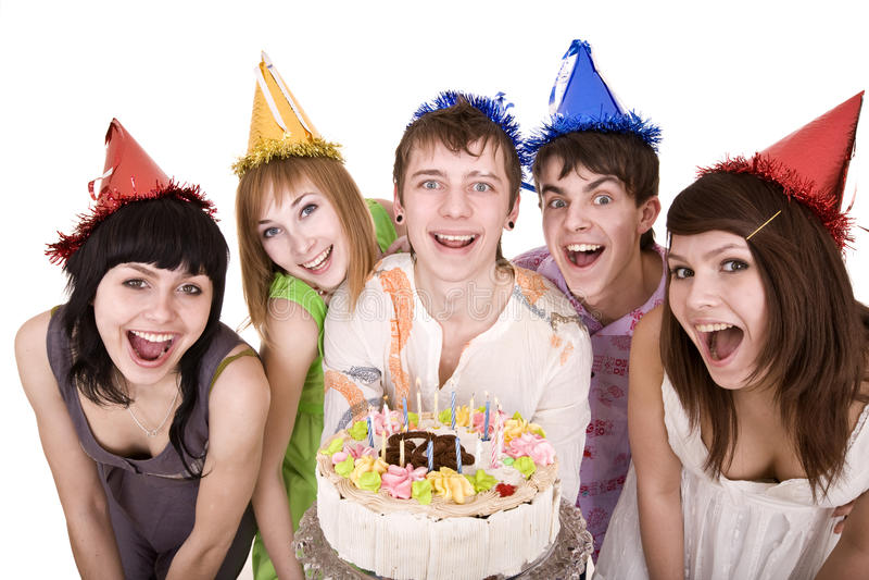 Group of teenagers celebrate happy birthday. Isolated stock image