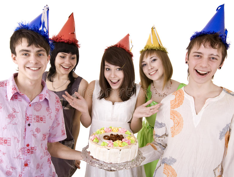 Group of teenagers celebrate happy birthday. Isolated royalty free stock photography