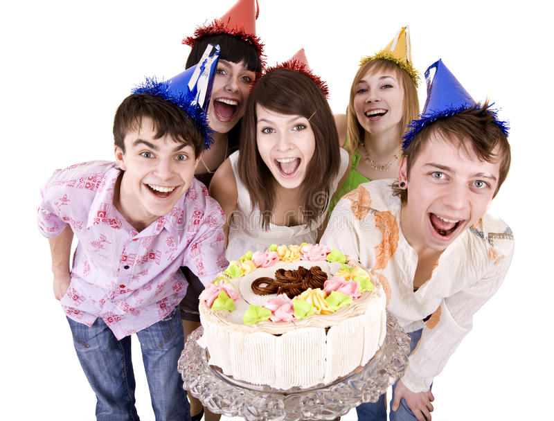 Group of teenagers celebrate happy birthday. Group of people celebrate happy birthday with cake. Isolated stock images