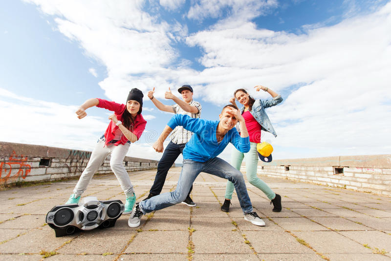 Download Group of teenagers dancing stock photo. Image of outdoors - 33506736