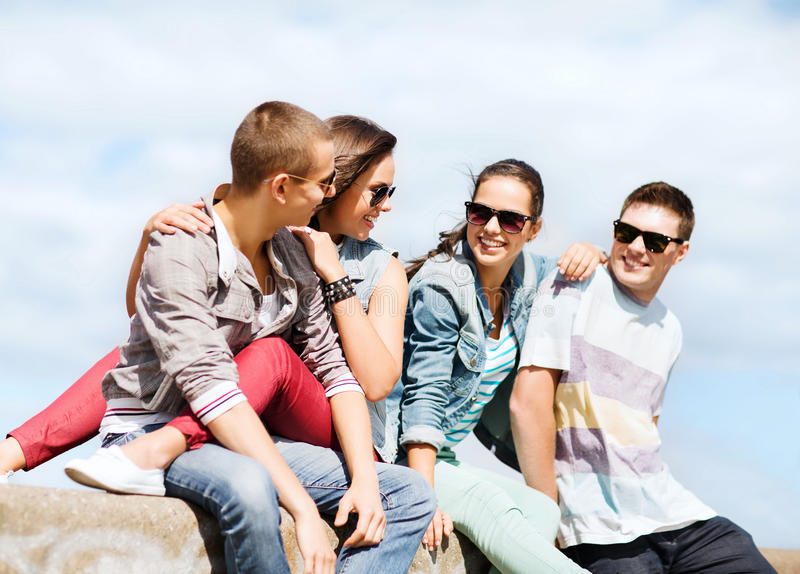 Group of teenagers hanging out stock image image of for Hanging groups of pictures