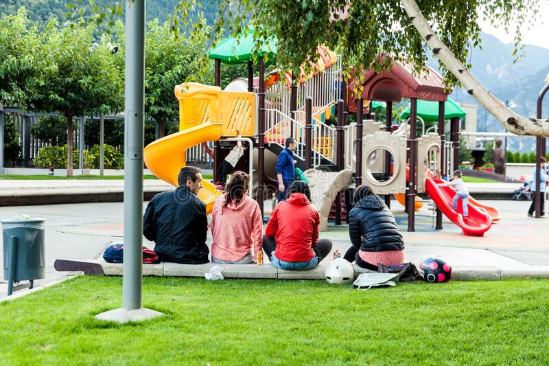 Group of teenagers in playground royalty free stock photos
