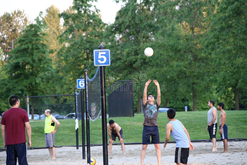 Group of teenagers playing beach volleyball game. At park stock photo