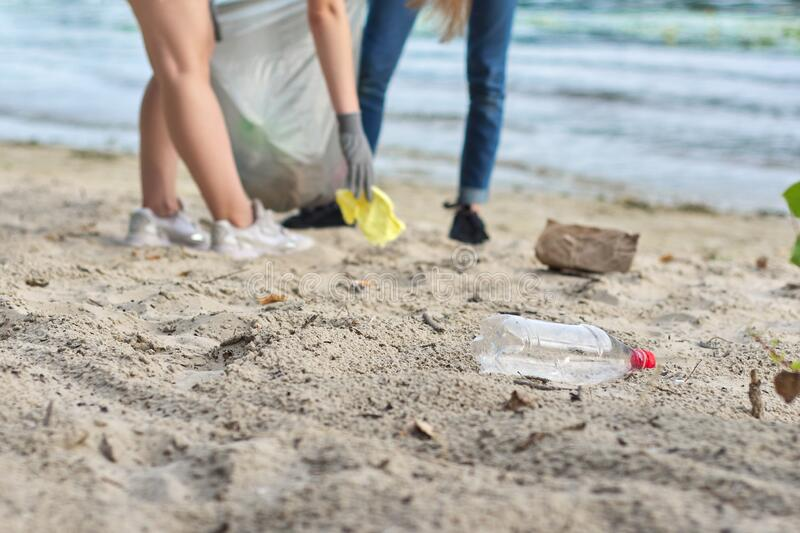 Group of teenagers on riverbank picking up plastic trash in bags. Environmental protection, youth, volunteering, charity, and ecology concept royalty free stock image