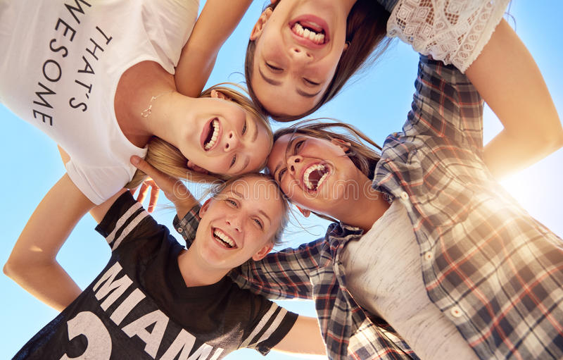 Group of teenagers. Staying together looking at camera royalty free stock photos