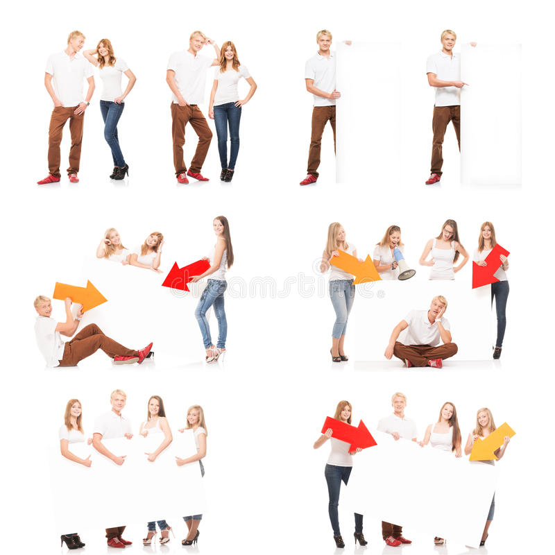 Group of teenagers with a white banner. Group of teenagers with a blank, white billboard. Collection set isolated on white background stock photography