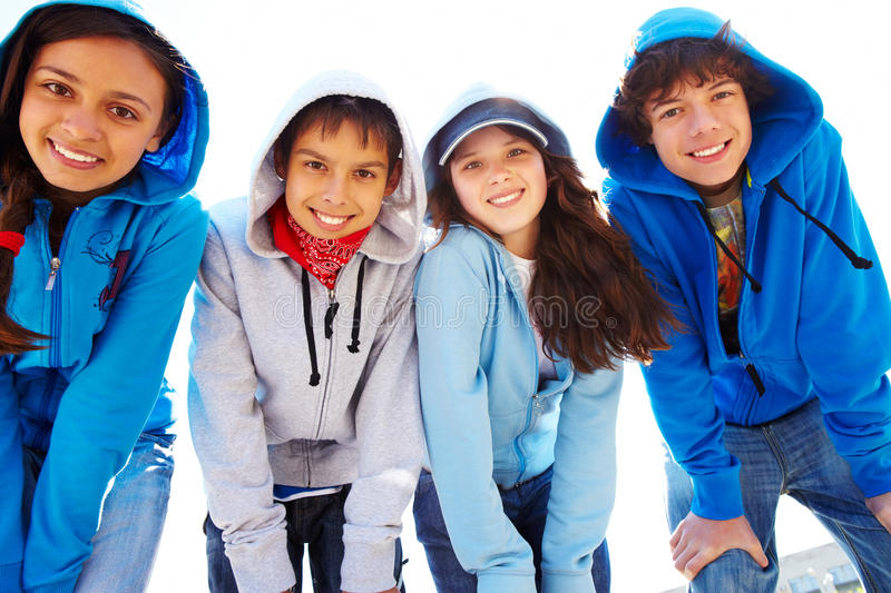 Group of teens stock images