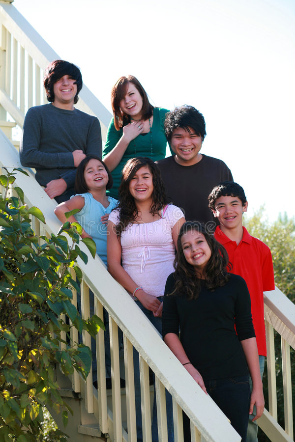Group Of Teens On Stairs Stock Images