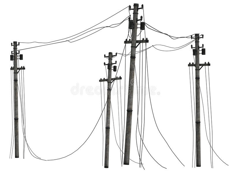 Group of telephone poles. Realistic illustration of group of utility or telephone poles with cables seen from different angles, isolated on white background royalty free illustration