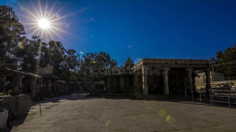 Sunset - Talakadu Temple, Mysore. Karnataka. The Group of temples at Talakad, located about 45 km south-east of the culturally important city of Mysore in the royalty free stock photography