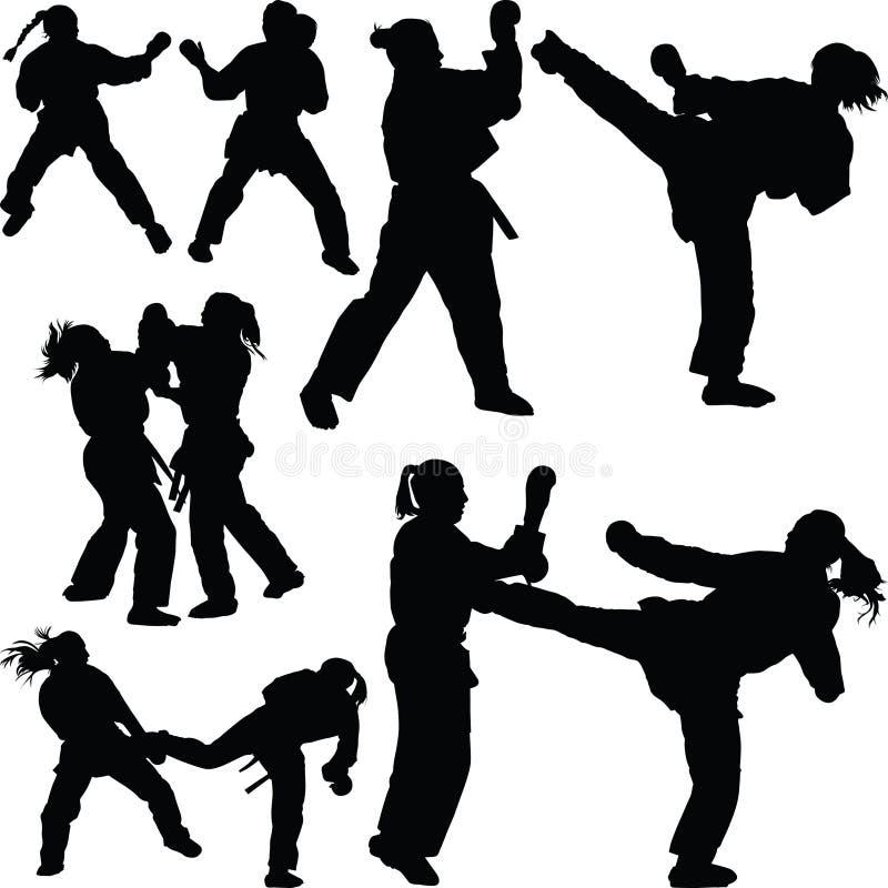 Karate girl silhouette stock illustration