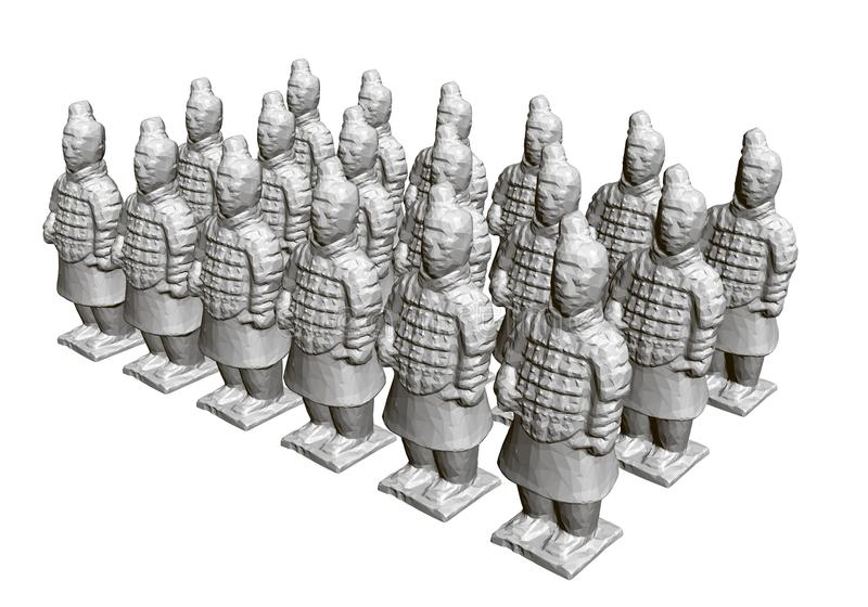 Group of terracotta warriors. Sculptures of ancient terracotta warriors. 3D. Isometric view. Vector illustration.  royalty free illustration