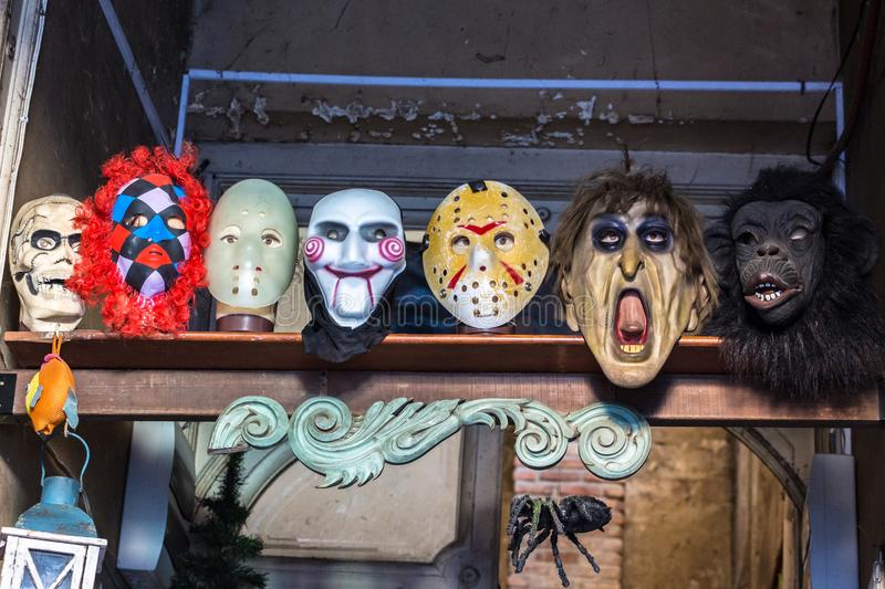 Group of theatrical masks stock photos
