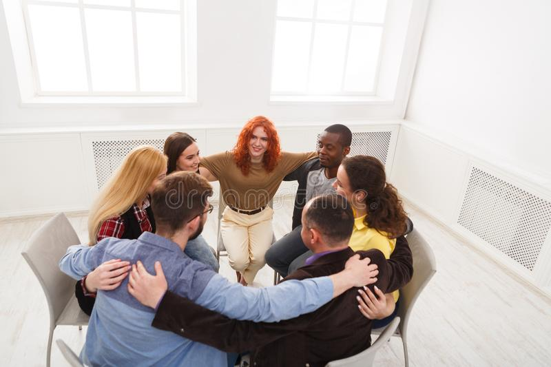 Group therapy, psychology support meeting royalty free stock photography