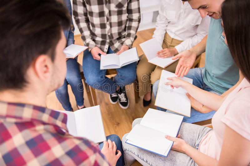 Group therapy. Group of people support. Discussion in small groups stock images