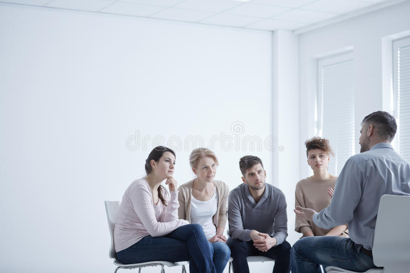 Group therapy for social anxiety royalty free stock image