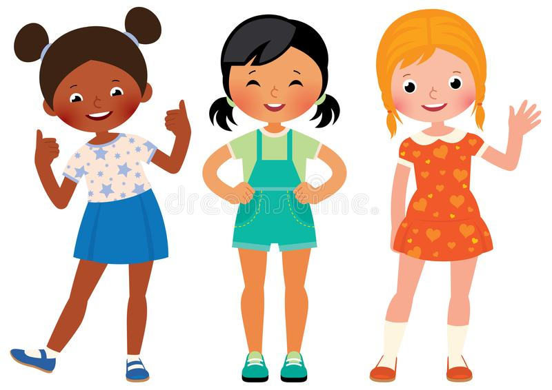 Group three children girlfriends of different nationalities African American Asian and Caucasian. Vector cartoon illustration royalty free illustration