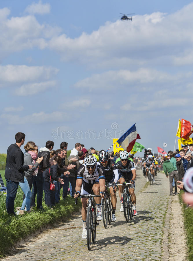 Group Of Three Cyclists- Paris-Roubaix 2014 Editorial Photography