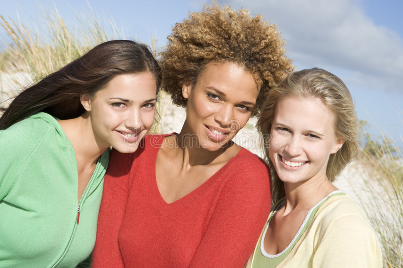 Download Group Of Three Female Friends At Beach Stock Image - Image: 5008685