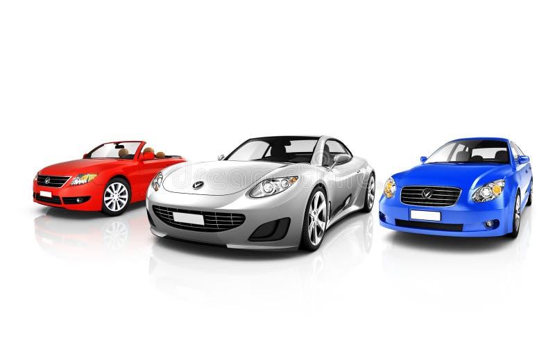 Group of Three Multicolored Elegant Cars stock photos