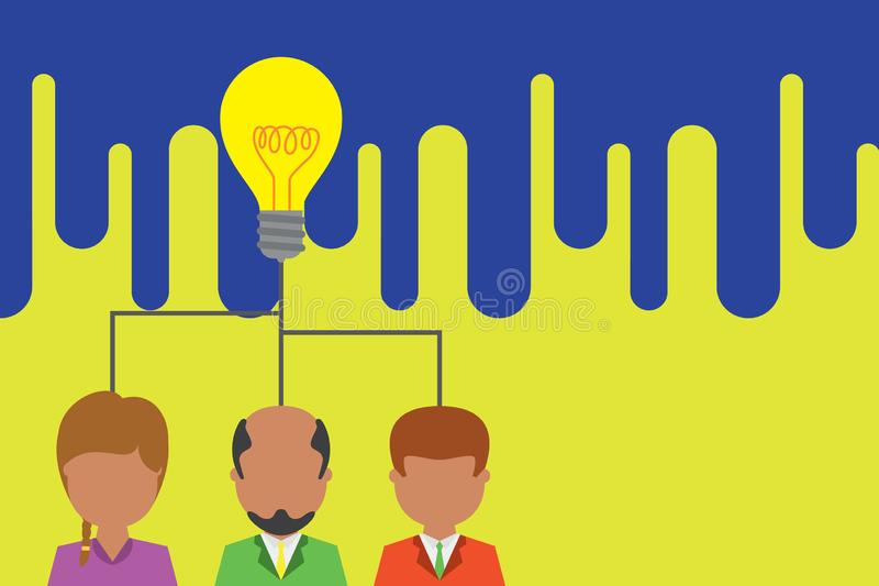 Group three people sharing idea icon. Executive persons meeting brainstorming. Team work startup. Creative light bulb stock illustration