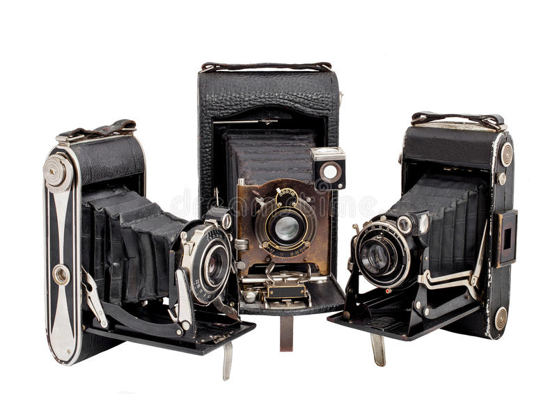 Download Group Of Three Photocamera On Medium Format Isolated Stock Photo - Image: 48430136