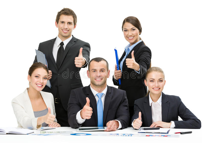 Group of thumbing up managers royalty free stock photos