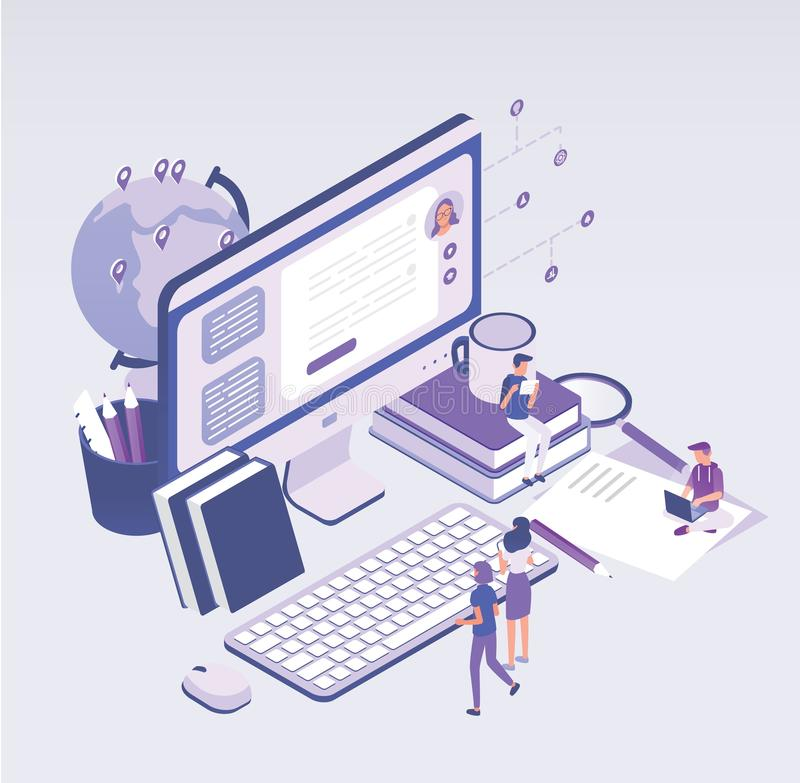 Group of tiny men and women or students standing in front of giant computer and looking at screen. Distance learning royalty free illustration