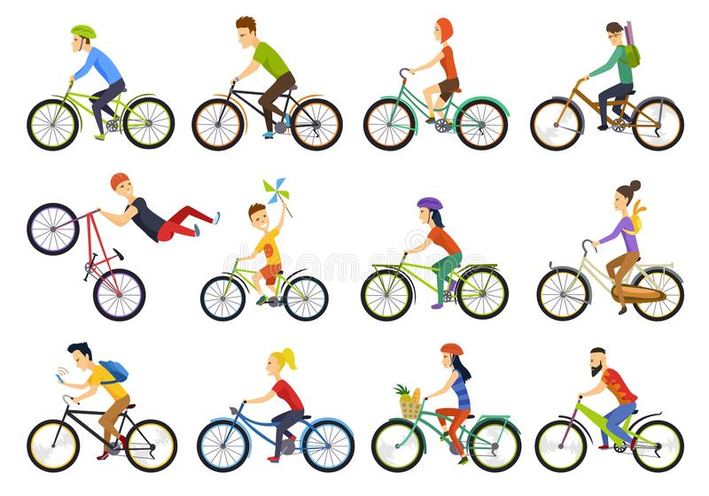 Group of tiny people riding bikes on city. Bike types and cycling sign set. Man, woman, kids. Thin line art icons. Flat royalty free illustration