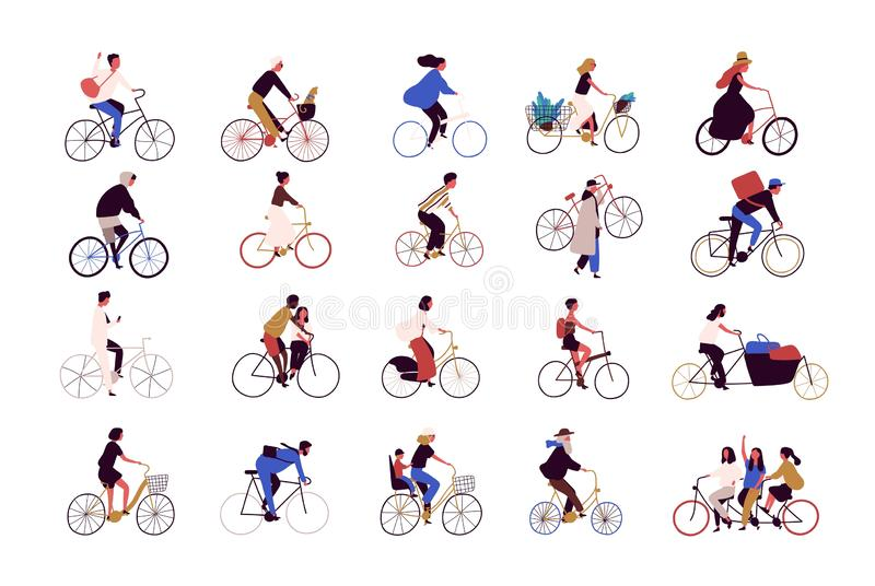 Group of tiny people riding bikes on city street during festival, race or parade. Collection of men and women on stock illustration