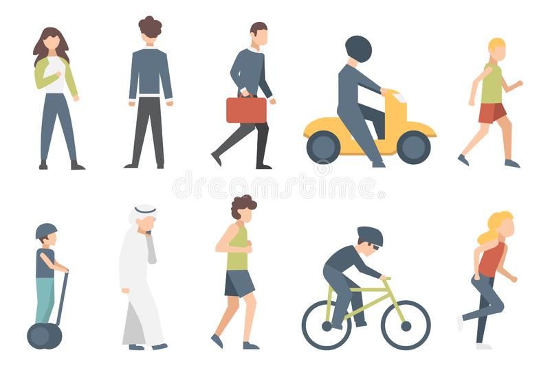 Group of tiny people riding bikes on city street. Illustration of male and female flat cartoon characters isolated.  royalty free illustration