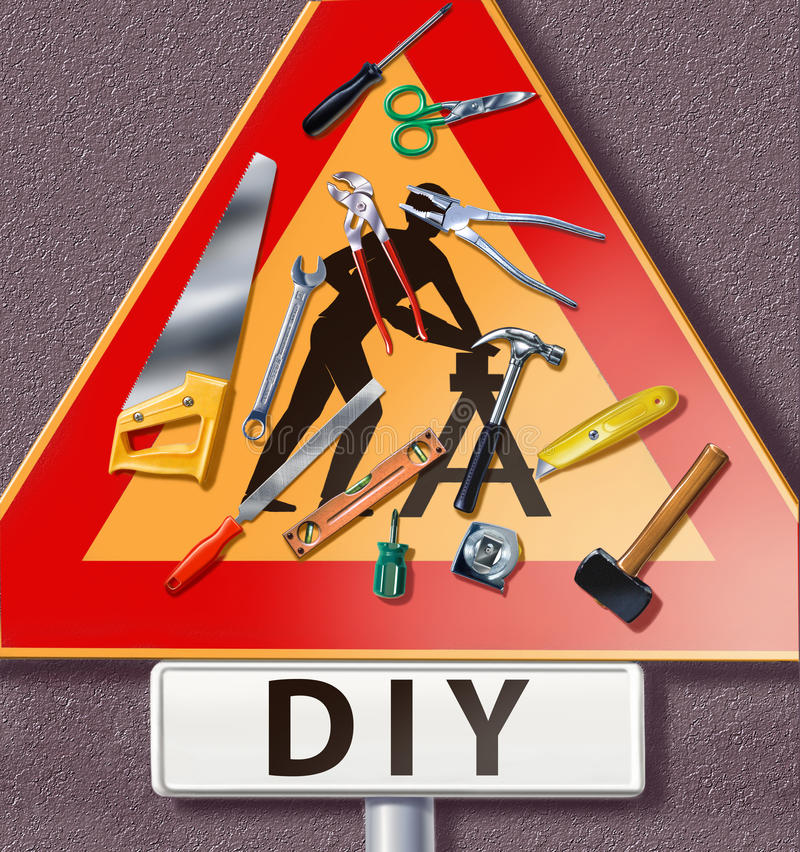 Download Group Of Tools Spread On A Traffic Sign With DIY M Stock Illustration - Image: 22519176