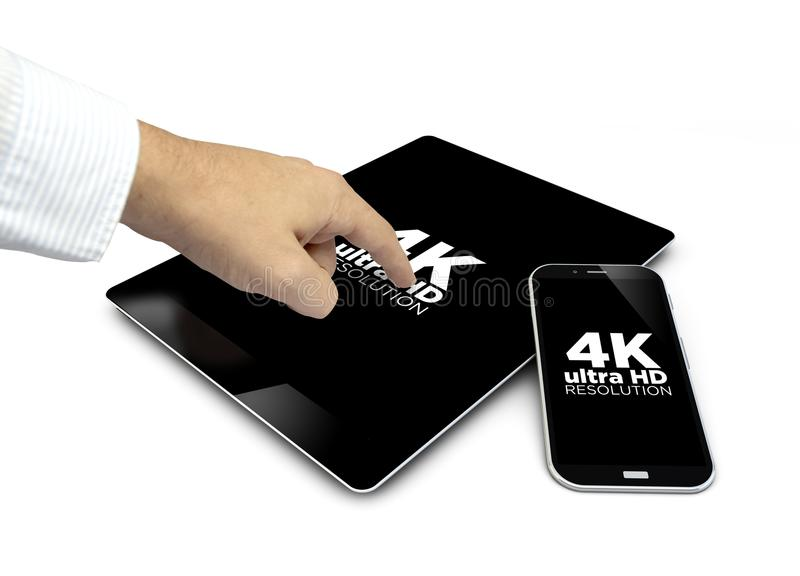 Group of touchscreen devices 4k resolution and a finger touching. Group of touchscreen devices 4k ultra HD and a hand touching the screen isolated on white stock image