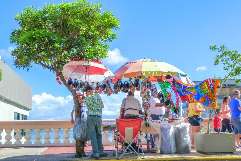 Street vendors and tourist at Old San Juan. A group of tourist and street vendors at old San Juan royalty free stock images