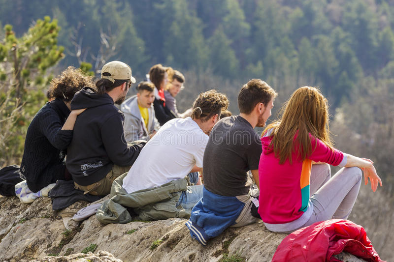 Group of tourists enjoying the view royalty free stock photography