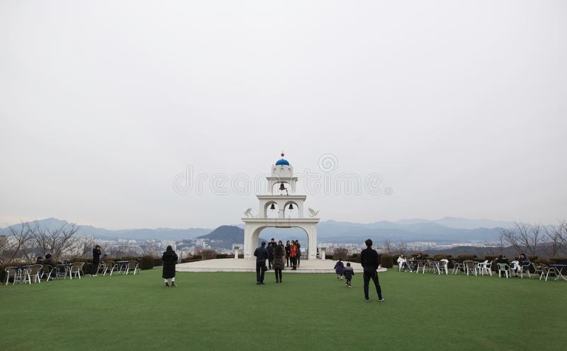 A picture of tourists visiting a Santorini style cafe in Gangwon Korea. stock images