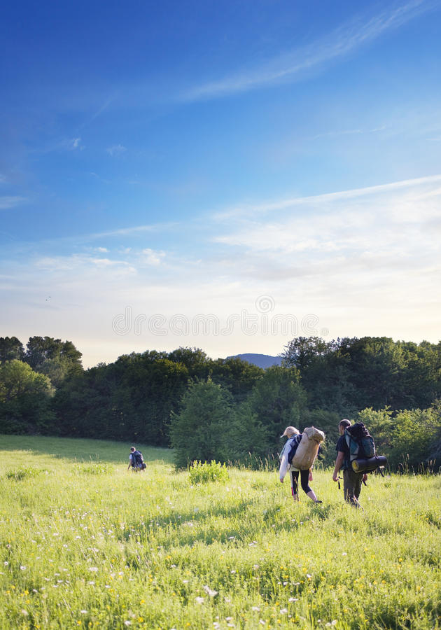 Group of tourists. Walking on a footpath across the field stock photo