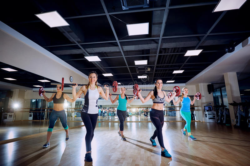 Group training. Girls doing exercises with a bar in the gym royalty free stock photo