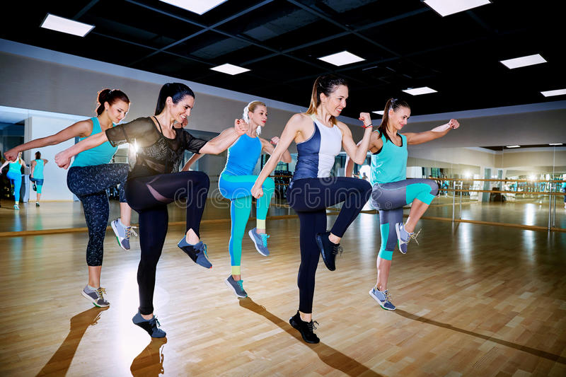 Group training of girls in the gym stock photography