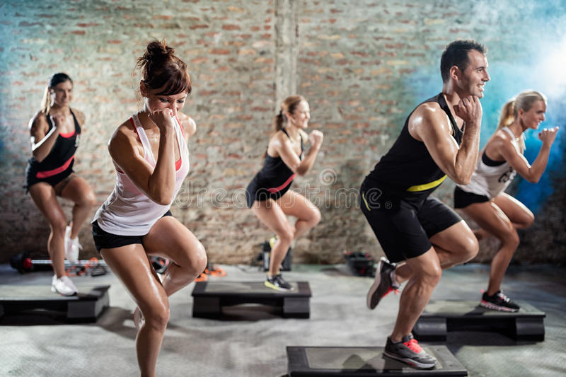 Group training on steppers royalty free stock images