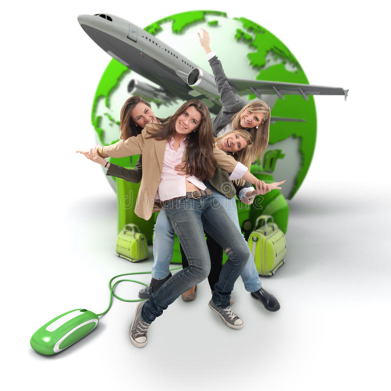 Group travel online booking royalty free stock photos