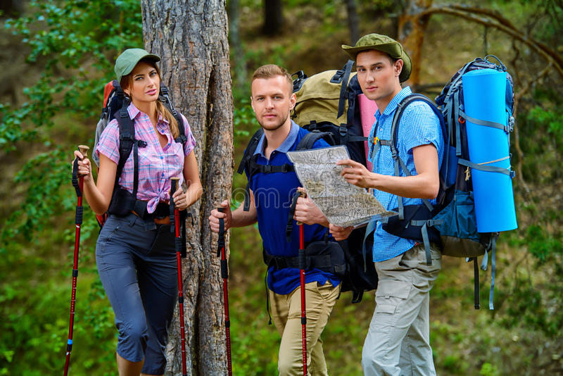 Group of travelers stock photography