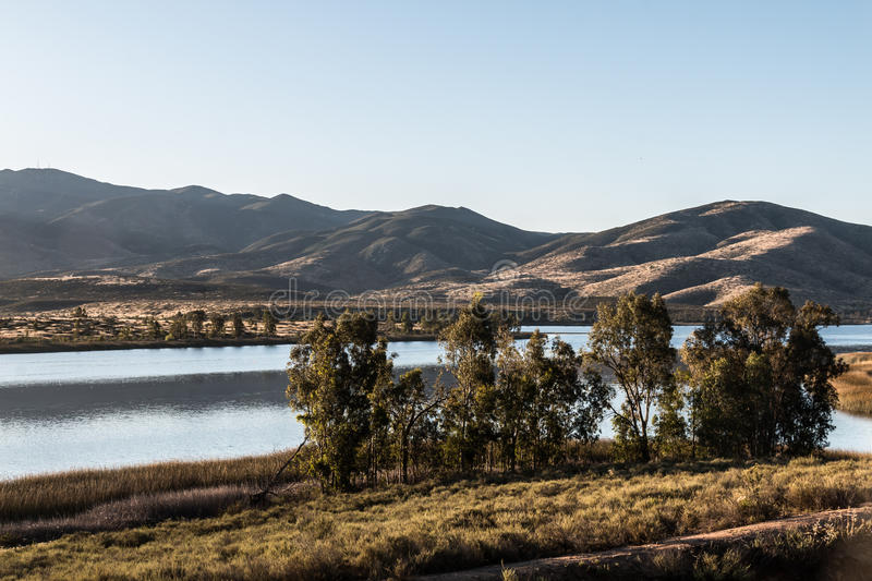 Group of Trees with Lake and Mountain in Chula Vista. Group of trees with lake and mountain range in the distance at Lower Otay Lake in Chula Vista, California royalty free stock photo