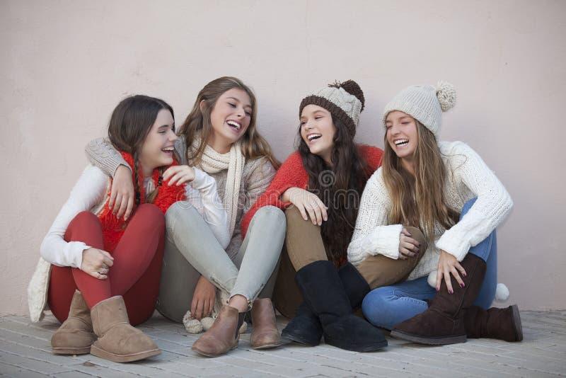 Group of trendy happy teens stock image