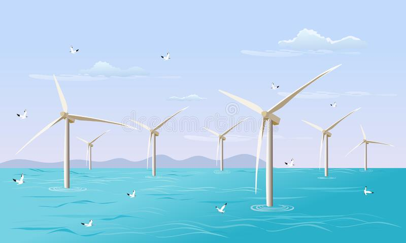Group of  turbine generates electricity for the wind in the sea. with the sky in the background stock photos