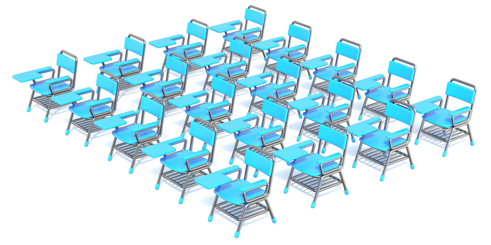 Group of twenty blue student chairs 3D render orthographic royalty free illustration