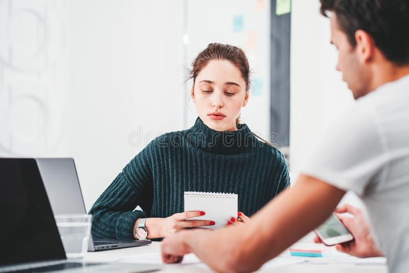 Group of two coworking manager discussing new project in office royalty free stock images