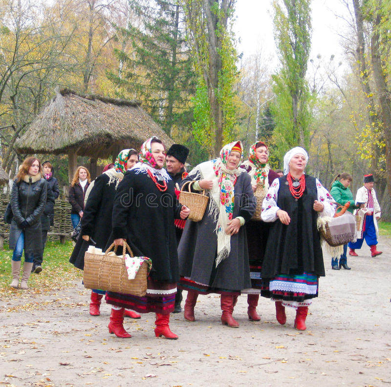 The group in ukrainian national costumes. The group of picturesque old ladies in ukrainian national costumes stock photos