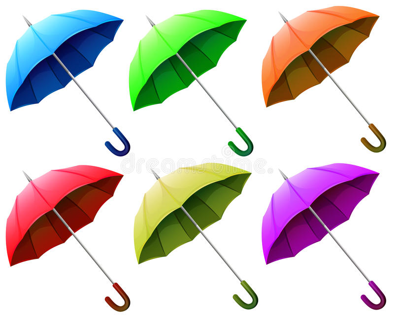 A group of umbrellas. Illustration of a group of umbrellas on a white background stock illustration