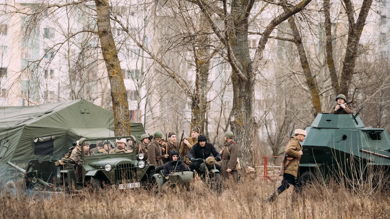 Group Of Unidentified Re-enactors Dressed As Russian Soviet Infantry Soldiers. Gomel, Belarus - November 26, 2016: Unidentified Re-enactors Dressed As Russian stock photos